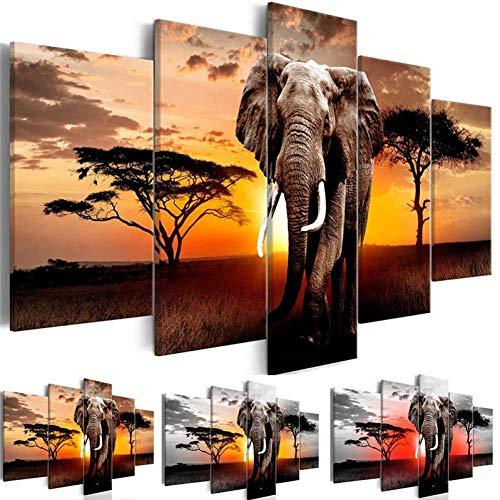 SUNNYFOR Rahmenlose Malerei Leinwandbilder Wohnkultur 1 Stück Walking Elephant Sunset Afrika Grünland Landschaft Malerei Drucke Poster Wohnzimmer Wandkunst -