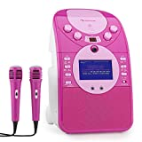 auna ScreenStar • Karaokemaschine Anlage • Kinder Karaoke Player Set • CD-Player • auch für Karaoke-CDs • USB • Front-Kamera • Audio Video Recording • 2 x Mikrofon • Breitbandlautsprecher • pink