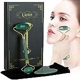 Lictin Rodillo De Jade-Facial Masaje Piedra Gua Sha Jade para Cara, Ojos, Cuello y Cuerpo (Verde)