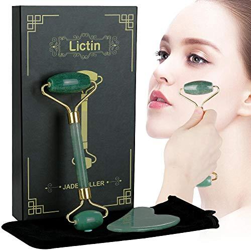 Lictin Rodillo Jade Facial Masaje- 2 pcs Gua Sha Facial