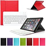 iPad Air 1 Funda con Teclado Bluetooth ,CoastaCloud iPad Air 1 Funda Cubierta Protectora con Teclado Inalambrico QWERTY Español para Apple iPad Air 1 (A1474, A1475, A1476)Rojo