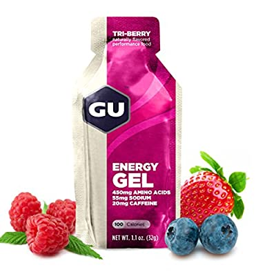 GU Energy Gel, Tri Berry (Waldfrucht), Box mit 24 x 32 g