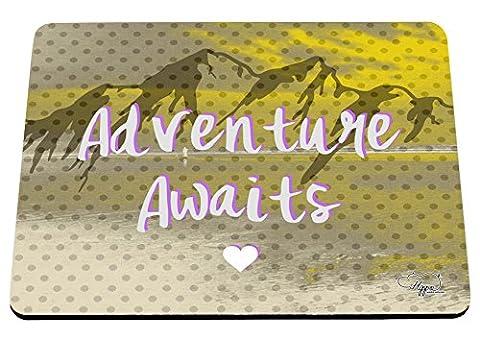 hippowarehouse Abenteuer erwartet Mountain Landschaft bedruckt Mauspad Zubehör Schwarz Gummi Boden 240mm x 190mm x 60mm, gelb, (Outdoor Adventures Wallpaper)