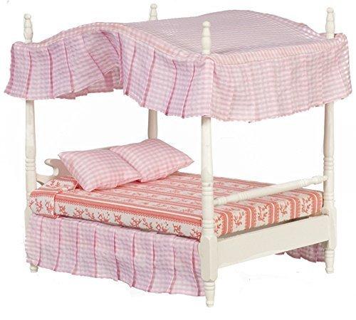 Melody Jane Puppenhaus weiß doppelt 4 Poster baldachin bett Miniatur 1:12 Schlafzimmer - Baldachin Möbel Schlafzimmer