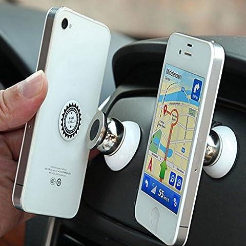 Support Voiture Magnetique pour LG G3 LTE-A / G3 S / G3 S Dual / G3 Screen / G3 Stylus / G4 / G4 Beat / G4 Dual / G4 Stylus / G4c / GD350 / GD550 Pure / GD580 Lollipop / GD880 Mini / GM360 Viewty Snap / GS155 / GS290 Cookie Fresh / GS390 Prime / GS500 Cookie Plus Smartphone   Telephone   360 degres (Blanc)