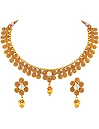Asmitta Traditional Jalebi Design Gold Plated Choker Style Copper Necklace Set For Women