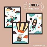 Affiche enfant, décoration chambre bébé garçon, illustration chambre enfant, avion fusée montgolfière orange ou vert et bleu - Lot de 3 - Modèle au choix