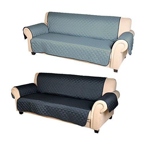 Información del producto:   - Nombre: Funda de sofá   - Marca de fábrica: KINLO   - Tamaño del asiento: 56*165 CM   -Tamaño del respaldo: 165*88 CM   - Apoyabrazos tamaño: 56*71 CM   - Color: Azul oscuro/Azul(Ambos lados están disponibles)  - Materi...