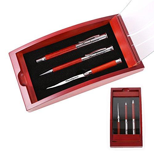 Schreibset Borkum inklusive Gravur - Dreh-Kugelschreiber Füllfederhalter und Brieföffner - Geschenk-Etui aus Holz - Glas