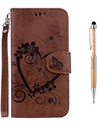Grandoin Funda Galaxy J6 Plus 2018, Carcasa Piel Funda Protectora Slim Folio Cartera Tapa movil Case PU Cuero Love Heart impresión Flip Libro Leather Wallet para Samsung Galaxy J6 Plus 2018 (Marrón)