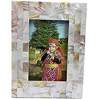Blanco madre perla, marco de fotos de nácar, decorativos para el hogar, regalo