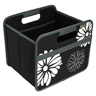 Meori Faltbox Classic Small Lava Schwarz/Blumen 32x26,5x27,5cm stabil abwischbar Polyester Eleganz Premium Qualität Wohnen Einrichtung Möbel Sortierung Aufbewahren Verstauen