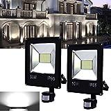 Hengda® 2x 50w LED fluter mit Bewegungsmelder Flutlicht Weiß Strahler Scheinwerfer Außen IP65 AC85-265V