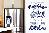 CUT IT OUT If You Want Breakfast in Bed Sleep in The Kitchen Stickers Muraux Vinyle Décor Pochoirs Murals - Grand (Hauteur 88cm x Longueur 57cm) Bleu Marine