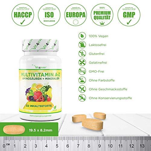 Multivitamin A-Z – 120 Tabletten – 32 Vitamine, Mineralien, Aminosäuren, Spurenelementen +Antioxidantien, 120 Tage Versorgung – Täglich nur 1 Tablette – Mulitvitamine – Vitamin C, Eisen, Vitamin E, Zink, Vitamin B3, Niacin, Magnesium, Vitamin B5, Vitamin D3, OPC, Traubenkernextrakt, Kurkuma, Glutamin, Vitamin B6, Alpha-Liponsäure, Vitamin B1, Vitamin B2, Vitamin B3, Vitamin D3, Vitamin A, Folsäure, Kupfer, Vitamin B12, Selen, Biotin … Vit4ever - 3