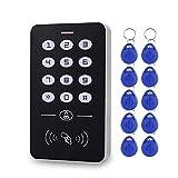 HFeng Sistema de control de acceso electrónico DC12V Teclado RFID Lector de tarjetas de 125 KHz Controlador de acceso Contraseña Locker + 10 piezas Etiquetas de llaveros EM4100 (A1+10)