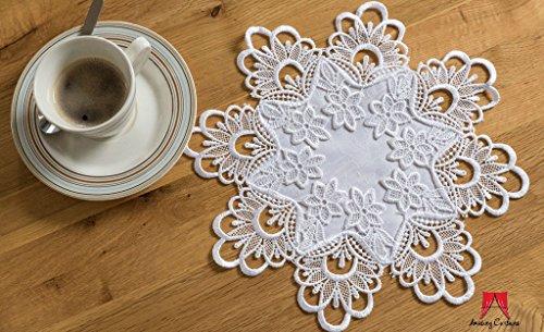 Doilies Spitzen-Tischdecken, rund, Heim-Dekoration, Weiß und Elfenbein, Spitze, elfenbeinfarben, 12