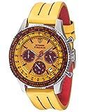 DETOMASO Firenze Herren-Armbanduhr Chronograph Analog Quarz Silbernes Edelstahlgehäuse Gelbes Zifferblatt - Jetzt mit 5 Jahre Herstellergarantie (Leder - Gelb (Naht: Rot))