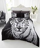 STYLELIVING Bettwäsche-Set, Motivaufdruck mit Tieren, Baumwollmischgewebe, Decken- und Kissenbezug., weißer tiger, Einzelbett