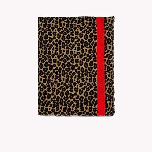 Damen Klassisch Leopardenmuster Roter Rand Schals Warm Übergroß Mantel Schal Gemütlich Herbst Winter Kaschmir Schal