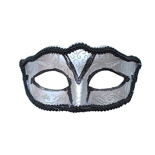 ParttYMask Maskerade,Halloween Männer und Frauen Make-up Abschlussball Maske halb Gesicht Maske Silber Masquerade
