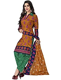 HRINKAR Women's Cotton Salwar Suit Dupatta Dress Material (HRKT1629_Yellow And Pink_Free Size)