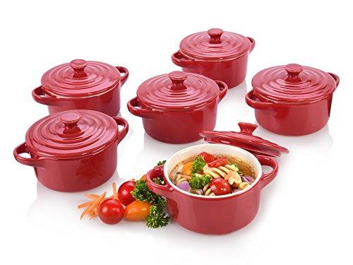 Bluespoon Ofenform Set aus Porzellan mit Deckel 6 teilig | Vielseitig einsetzbar für kleine Gratins, Aufläufe oder auch für Suppen | Lässt Ihre Speisen um ein Vielfaches appetitlicher erscheinen