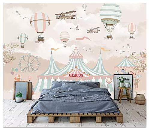 MuralXW Hand gezeichnete Klassische Tapete des Kinderelefant-Tapetenweißkaninchenillustrationsjungenmädchenraumsofafernsehhintergrundes 3D-400x280cm