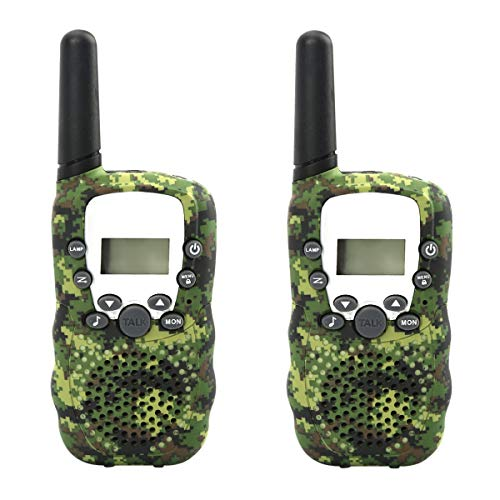 COOJA Talkie Walkie Camouflage 3km Longue Portee, Paire de Talkies Walkies Takie-Walkie Enfant Talky Walky Batterie Toki Walki 8 Canaux Takiwalki Lampe de Torche PMR VOX Oreillette