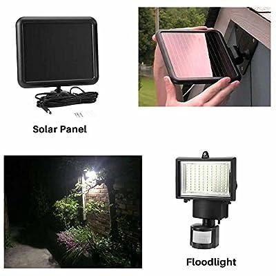 100 LED Solar Powered PIR Motion Sensor Security Flood Light Outdoor Garden Wall