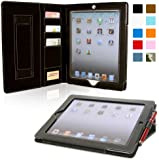 Snugg iPad 2 Card Slot 'Executive' Leather Case in Black - Flip Stand Cover with Card Slots, Pocket, Elastic Hand Strap and Premium Nubuck Fibre Interior - Automatically Wakes and Puts the Apple iPad 2 to Sleep