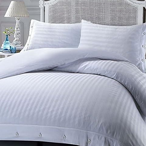 Luxury Soft Touch Hotel Quality Non-Iron 100% Egyptian Cotton Sateen Satin Stripe Duvet Cover Set - White - Single