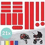 Tampen 21x Reflektor Sticker (Set) · hohe Sichtbarkeit im Herbst und Winter · Reflektoren für Kinderwagen, Fahrrad, Helm uvm. · wasserfeste Leuchtaufkleber · Rot