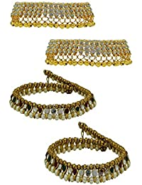High Trendz Combo Of Two Bollywood Style Ethnic Gold Plated Anklets With Ghungroos, Cz Stones And Kundan Studded... - B06XJ4RBRF