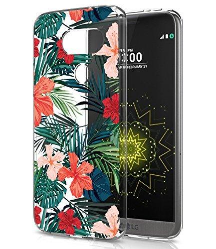 LG G5Fall, LG G5Fall mit Blumen, baisrke Slim stoßfest Transparent Floral Muster Weiche Biegsame TPU Back Cove für LG G5vs987/H820/LS992/830/us992, Palm Tree Leaves -