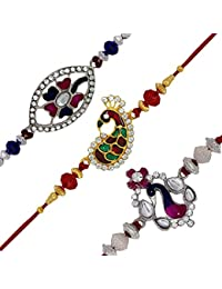 Mahi with Crystal Gold & Rhodium Plated Red, Pink, Blue Peacock Rakhi Combo of 3 Rakhis (Bracelet) CO1104519M