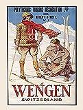 Wengen Suisse Alpes Ski Neige Holiday Ancienne Classique Voyage Publicité Rétro rétro, 1930s, déco Métal/Panneau Mural Métalique - 20 x 30 cm
