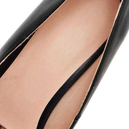 VogueZone009 Femme Couleur Unie Pu Cuir à Talon Correct Pointu Tire Chaussures Légeres Noir