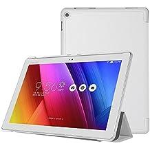 ELTD ASUS ZenPad 10 Z300C/Z300M custodia cover, [Slim Series] Custodia Cover in pelle PU per ASUS ZenPad 10 Z300C/Z300M , Bianco