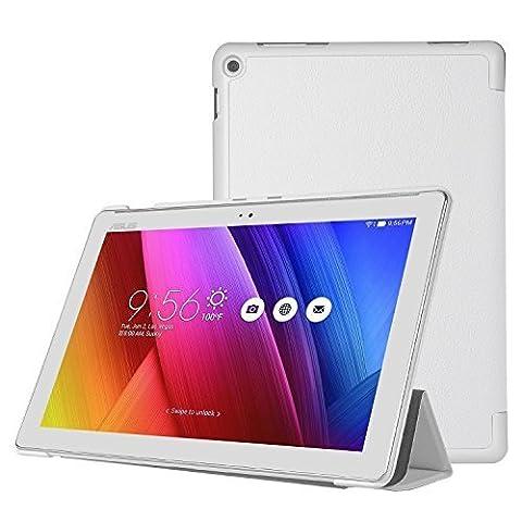 ELTD ASUS ZenPad 10 Z300C/Z300M Etui, Ultra Slim PU Leather etui Housse pour ASUS ZenPad 10 Z300C/Z300M, Blanc