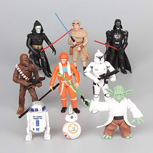 9 Pcs/Set Star Wars Storm Trooper Darth Vader Chewbacca Yoda 4-12 Cms. PVC Action Figures Collectible Model Toys