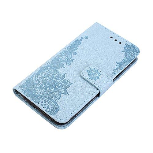 Phenix Blumen Prägemuster Faux Leder Horiontal Folio Stand Case mit Lanyard Card Slots für Samsung Galaxy J5 2017 Europäische Edition ( Color : Purple ) Blue