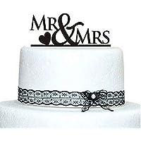 LEORX Torta nuziale Topper - MR e Mrs stile (nero) - Amore Del Cuore Torta Nuziale