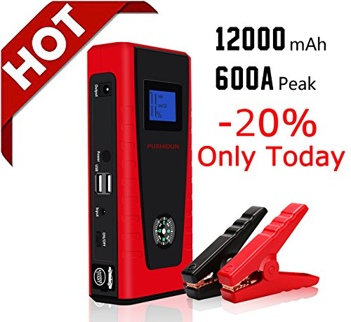 Auto Starthilfe 12000mAh 600A Powerbank Car Jump Starter Akku Power Pack Batterie Booster für 12V Diesel& Gas Motorrad mit 2 USB und LED
