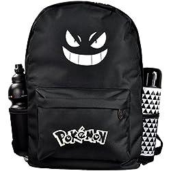 Zaino nero luminoso Pokemon Go.Ideale come zaino da sport e per la scuola con il viso del cartone animato giapponese. Pratica borsa per il tempo libero per viaggi o escursioni.