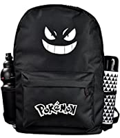 Pokemon Go luminous, black backpack. Perfect as a laptop bag 15/17 inch. The ideal sports and school backpack with anime, cartoon face. Practical leisure bag when traveling or hiking.