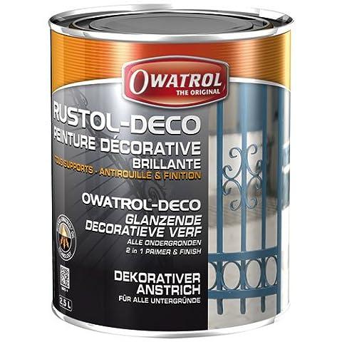 Lasure Blanc Bois Exterieur - Owatrol Rustol-Deco Peinture décorative brillante 2,5 L