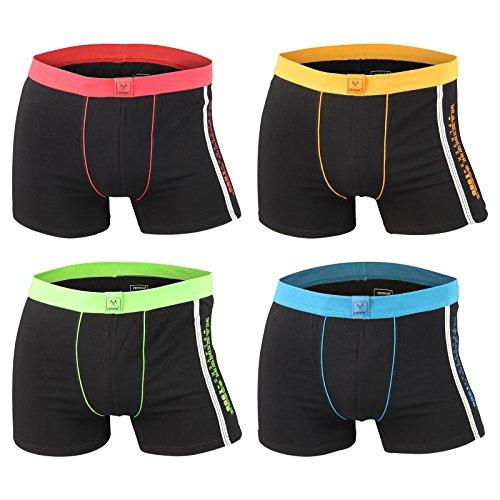 Men's Fashion Lounge Herren Boxershorts 'Remixx MBOX009a', 4er oder 8er Pack schwarz mit farbigen Akzenten, Baumwolle m. Elasthan schwarz m. 4 Farben/4er Set