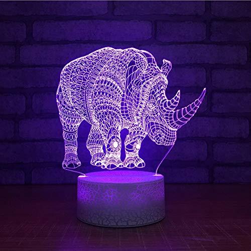 ganjue 3D Led Stimmung 7 Farbwechsel Nachtlicht USB Rhino Form Kinder Touch Schlafzimmer Schlaf Wohnkultur Cartoon Beleuchtung Atmosphäre Schreibtischlampe