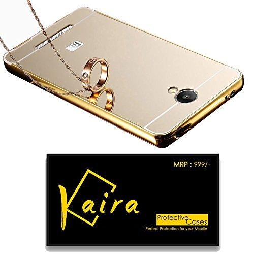 Kaira Luxury Metal Bumper Acrylic Mirror Back Cover Case For Xiaomi Redmi Note 3- Gold
